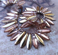 Strand of 50 glass beads- 2hole Dagger Beads Apollo Gold DGR2-516-C00030