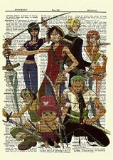 One Piece Anime Dictionary Art Print Poster Picture Luffy Zoro Nami Robin Sanji