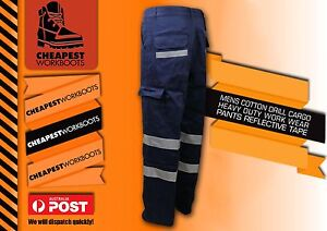 1 x MENS COTTON DRILL HEAVY DUTY WORKWEAR PANTS WITH REFLECTIVE TAPE CARGO STYLE