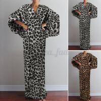 UK Womens Batwing Sleeve Holiday Party Dresses V Neck Leopard Kaftan Long Dress