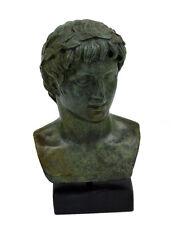 Apollo bust Ancient Greek God of light, sun, poetry bronze sculpture artifact