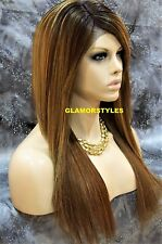 Long Straight Brown Blonde Mix Full Lace Front Wig Heat Ok Hair Piece SOM7017