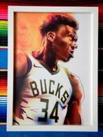 ✺Framed✺ GIANNIS ANTETOKOUNMPO Milwaukee Bucks NBA Poster - 45cm x 32cm x 3cm