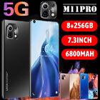 "M11 Pro 7.3"" Smart Phone Android 10-core 6800mah 8gb+256gb 5g New 2021 Black"