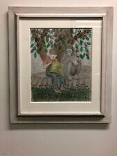 "Lawrence Lebduska Pencil And Crayon Drawing ""Boy And Chimp""  unsigned"