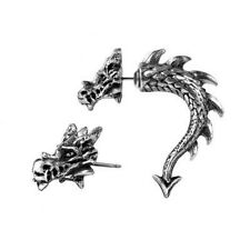 Faux Fake Ear Stretcher Tor Dragon Alchemy Gothic Earring Pewter New Single