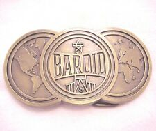 Baroid Oilfield Brass Buckle with Oil Derricks and the World