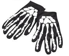 New Black Skeleton Print Biker Gloves Horror Halloween Fancy Dress P2071