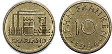 SAARLAND 10 FRANKEN 1954 KM#1