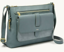Fossil Kinley Crossbody Chambray Leather Suede Blue ZB7801197 NWT $158 Brass