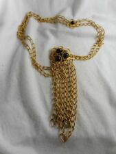 Funky Vtg Gold Rope Double Chain Belt / Huge Black Cabochon Buckle & Chain Drop