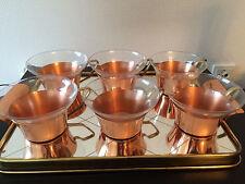 6 Teegläser mit Spiegeltablett Kupfer Messing
