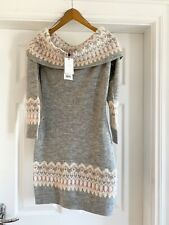 Lipsy Grey & Pink Fairisle Knit Jumper Bardot Dress NEW Size 10 💕 Christmas 🎄