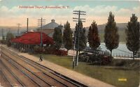C99/ Amsterdam New York NY Postcard Railroad Depot 1915