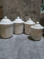 PFALTZGRAFF HERITAGE STONEWARE WHITE CANISTER SET 4 Pc Full Set