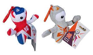 OLYMPICS London 2012 Wenlock Union Jack & Silver Orange Plush Toy Key Ring 12 cm