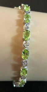 "Sterling Silver Bracelet Peridot Tennis Oval Green 8"" 10g Rhodium 925 JTV #1364"