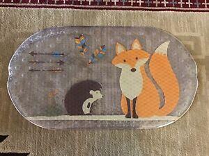 Mainstays Woodland Creature Bath Shower Mat Hedgehog Fox EUC