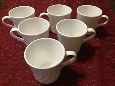 Lot 6 Corelle Corning Ware Frost White Coffee Cup Mug Swirl MADE IN USA