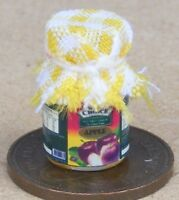 1:12 Scale Glass Jar Of Apple Jam With A Yellow Check Cloth Top Dolls House Food