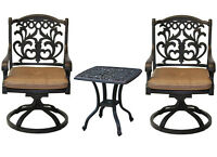 Outdoor bistro patio furniture 3 pc Flamingo swivel rocker cast aluminum bronze