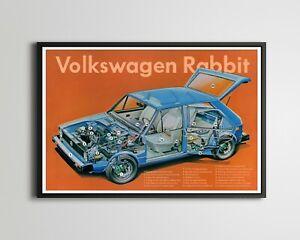 1978 Volkswagen Rabbit Cutaway POSTER! (up to 24 x 36) - VW - Antique - Vintage