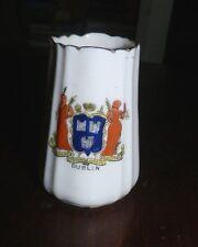 "Antique Souvenir China Toothpick  2 1/2""  DUBLIN  City Crest Crown Three Castles"