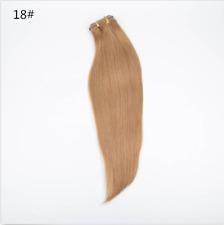 "15-24"" Natural Wavy Machine Weft Cap 100% Real Human Hair 3/4 Half Wig Extension"