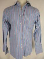 Thomas Pink Finest Cotton Blue Stripe French Cuff Dress Shirt 15.5-34 Ireland Md
