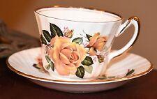 Vintage Royal Ardalt Tea Cup Saucer Yellow Tea Rose Gold Gilt Bone Chone England
