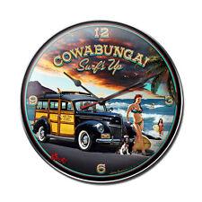 Cowabunga Surfs Up Woodie Pin Up Vintage Uhr Wanduhr Werkstatt Blechuhr Clock