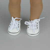 Handmade Canvas White Shoes For 18inch Girl Doll Cute Toy Kids Hot Dlxq Bab W0C3