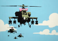 "BANKSY HELICOPTERS NEW A1 CANVAS ART PRINT POSTER FRAMED 33.1""x23.4"""