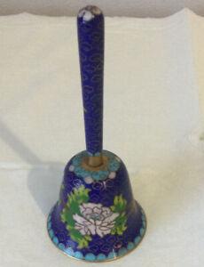 Cloisonné Enamel Metal Bell - Blue - 11cm Tall
