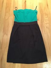 FRENCH CONNECTION WIZARD Green/Navy Color Block STRAPLESS DRESS SIZE 4