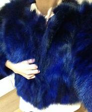 RABATT LUXUS PUR Echt fell Kobalt Blau Fuchs Pelzjacke vos bontjas blue fur S 36