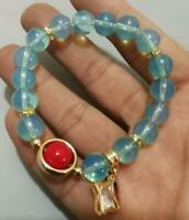 Blue round bead stretch women's fashion bracelet