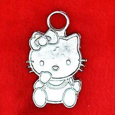 6 x tibetan silver Hello Kitty charme pendentif trouver Perles Fabrication de Bijoux
