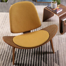 Hans Wegner Style Three-Legged Shell Chair Lounge Linen Fabric Seat Cushion