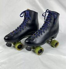 Vtg Dominion Canada Black Leather Roller Skates Mens Sz 12 w/Mad Hog 62mm Wheels
