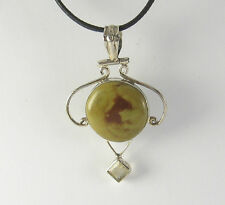 Jasper Pendant Necklace .925 Sterling Silver CZ Accent Green Brown Stone