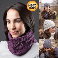 Heat Holders - Womens Winter Warm Fleece Lined Knit Thermal Snood Neck Warmer