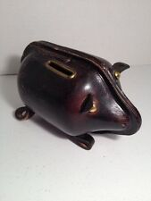 Hand Made Black Leather Pig Bank With Brass Eyes and Coin Slot