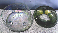 2pcs~IRIDESCENT CARNIVAL GLASS COLORED~CANDLE/CANDY BOWLS~1 ETCHED