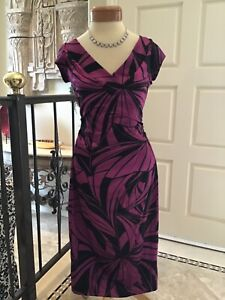 Maggy London NEW cocktail social occasion dress Purple/ black 6