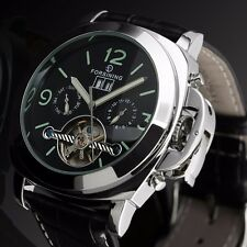 Forsining Luxury Leather Band Men's Tourbillon Mechanical Wrist Watch