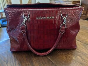 Armani Jeans Patent Croc Handbag/Shopper in Red. Very Good Condition.