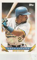 FREE SHIPPING-MINT-1993 Topps #153 Greg Vaughn Milwaukee Brewers Baseball Card-2