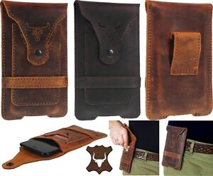FOR PHONE WITH CASE PROTECTOR - BULL'S HEAD GENUINE LEATHER POUCH & CARD POCKET