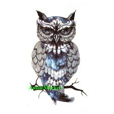 1 x temporary tattoo sticker sheet owl bird body art fancy dress ladies mens new